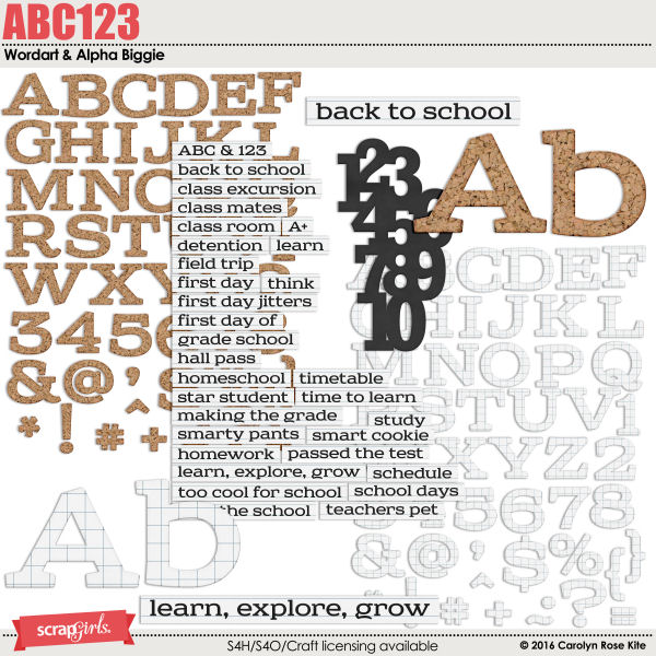 ABC123 Wordart & Alpha Biggie by Carolyn Rose Kite