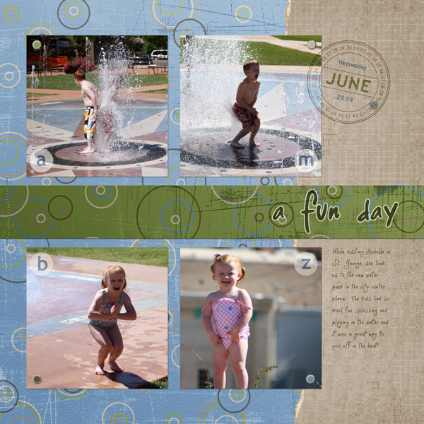 Layout by Cherise Oleson, featuring Assemble Your Own Zoom Album - 12x12: Vacation, ScrapSimple Embellishment Templates: Date Seals