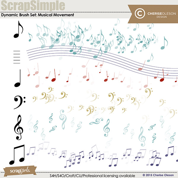 ScrapSimple Dynamic Brush Set: Musical Movement digital brush set by Cherise Oleson