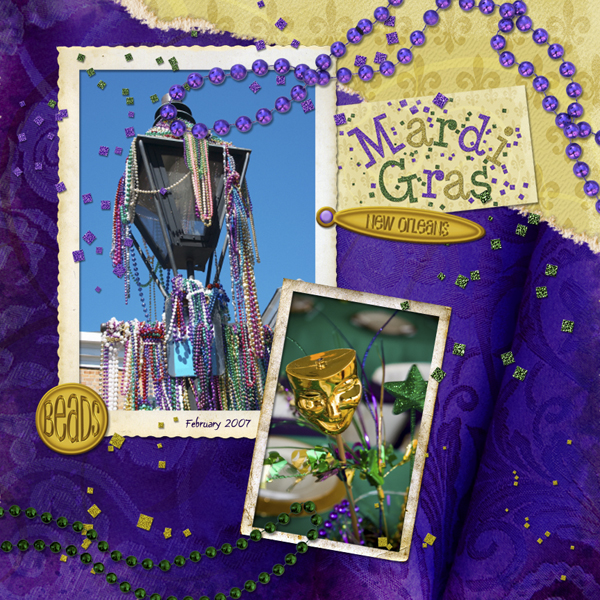 Layout by Cherise Oleson, featuring Mardi Gras Collection Mini, SS Action  My Paper Tear, SS Styles  Paper Tear, Old Photo Frames Emb Biggie, LD Graphite