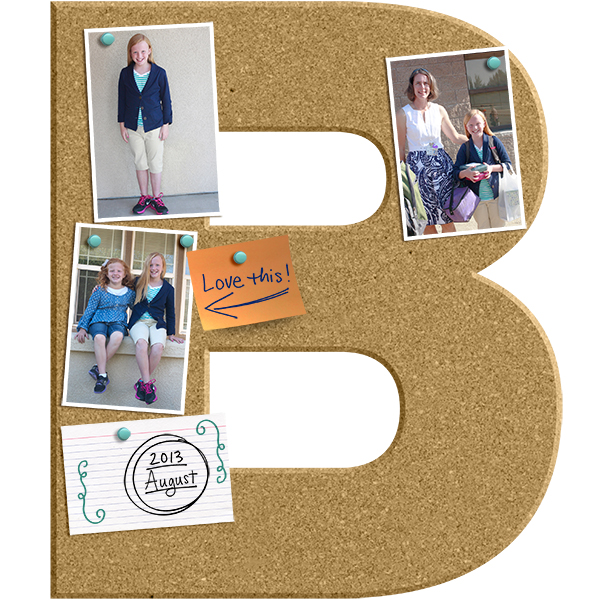 """Bailey's First Day of School"" digital scrapbook layout by Cherise Oleson. Ingredients linked below."