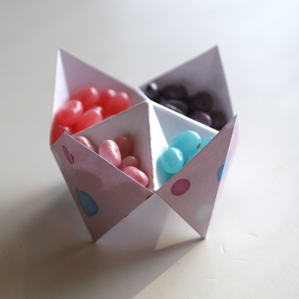 Sample of Completed Cootie Catcher used as a Party Favor and Candy Dish by Cherise Oleson (see supplies used listed below)