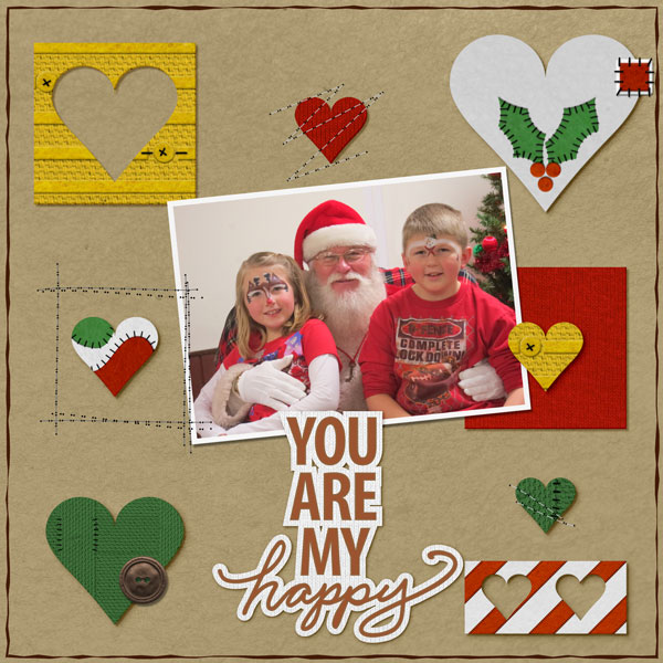 """You are my happy"" digital scrapbooking layout by Shannon Trombley. Ingredients linked below."