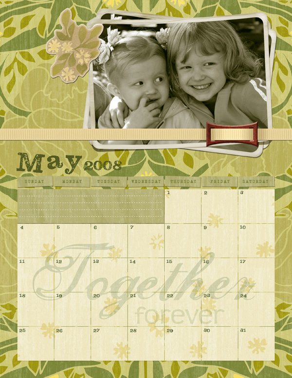 Layout featuring Intertwined Collection Mini, Intertwined Word Art Brush Set, ScrapSimple Embellishment Templates: Lifted Photos Biggie -Weathered, ScrapSimple Digital Layout Templates - Calendar: Great 2008