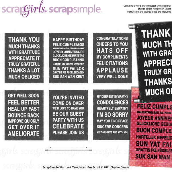 ScrapSimple Word Art Templates: Bus Scrolls