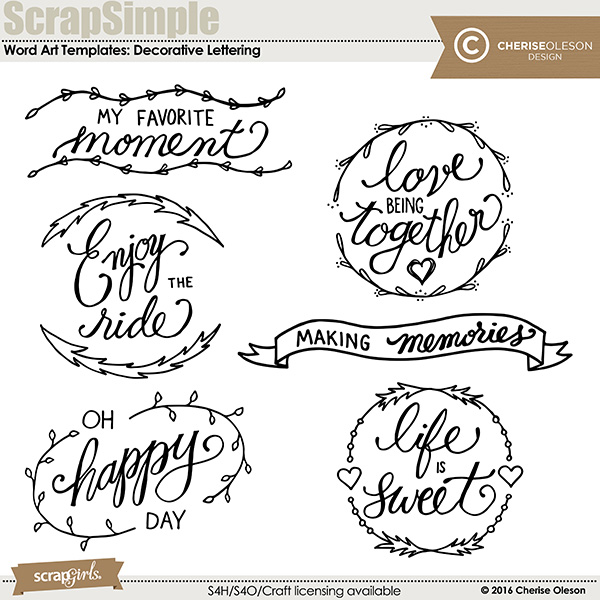 ScrapSimple Word Art Templates: Decorative Lettering