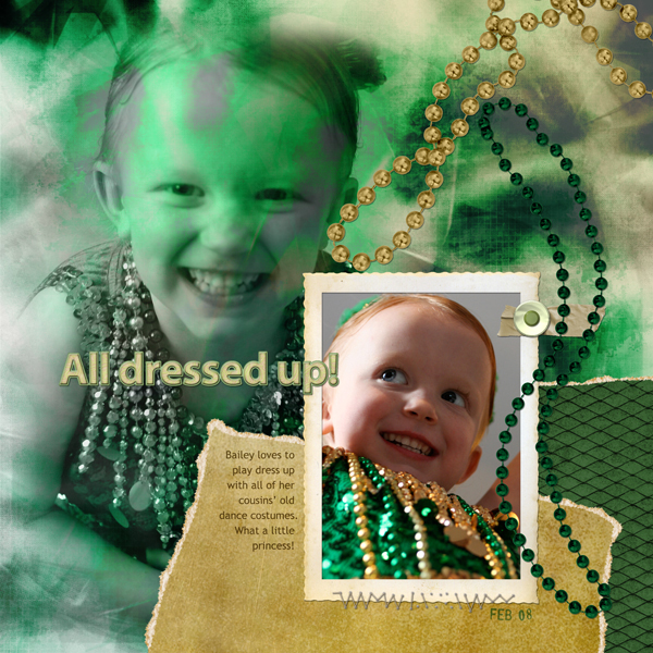 Layout by Cherise Oleson, featuring ScrapSimple Embellishment Template: Mardi Gras, SS Paper Dreamscape, Emb. Biggie: Old Photo Frames, AnnaBelle Collection, Scenic Route Collection, Bliss Collection, Table Manners Collection, Daddy Dearest Collection