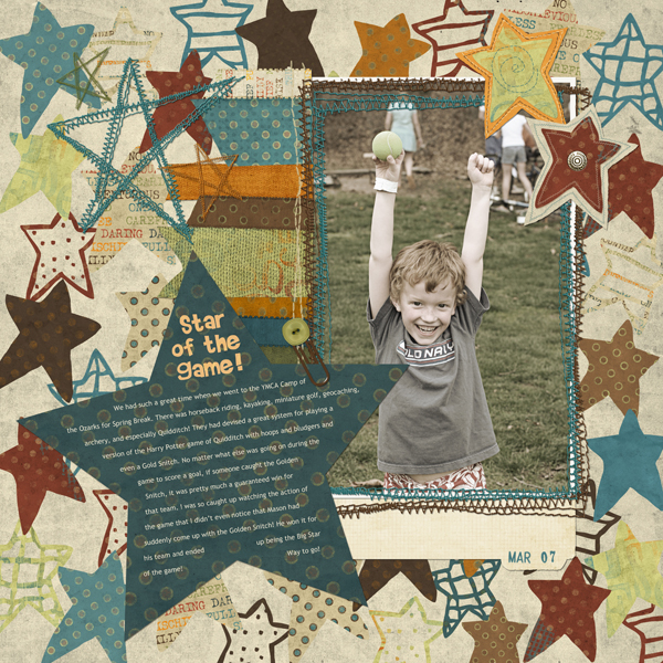 Layout by Cherise Oleson, featuring ScrapSimple Type Shapes: Stars 8301, Mischief Maker Collection, SS Actions Photo Basics 5001, LD Martian Mania, and Brush Set: Stamped Dates