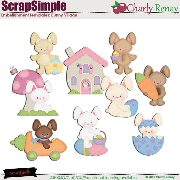Scrapsimple Embellishment Templates: Bunny Village 1 By Charly Renay