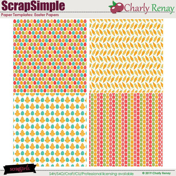 Scrapsimple Paper Templates: Easter Papers 1 By Charly Renay