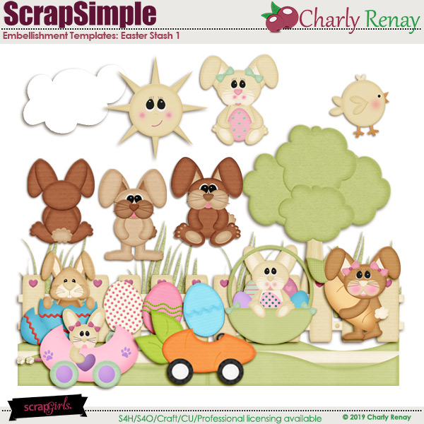 Scrapsimple Embellishment Templates:Easter Stash 1 By Charly Renay