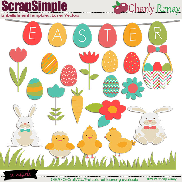 Scrapsimple Embellishment Templates: Easter Vectors1 By Charly Renay