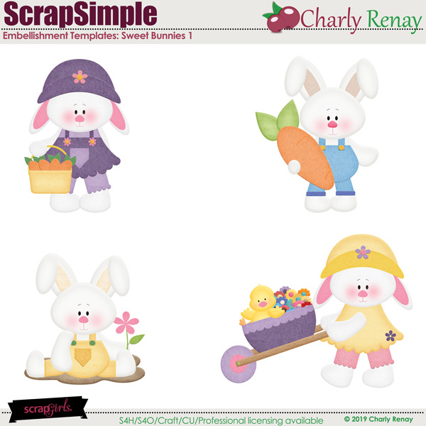 Scrapsimple Embellishment Templates:Sweet Bunnies 1 By Charly Renay