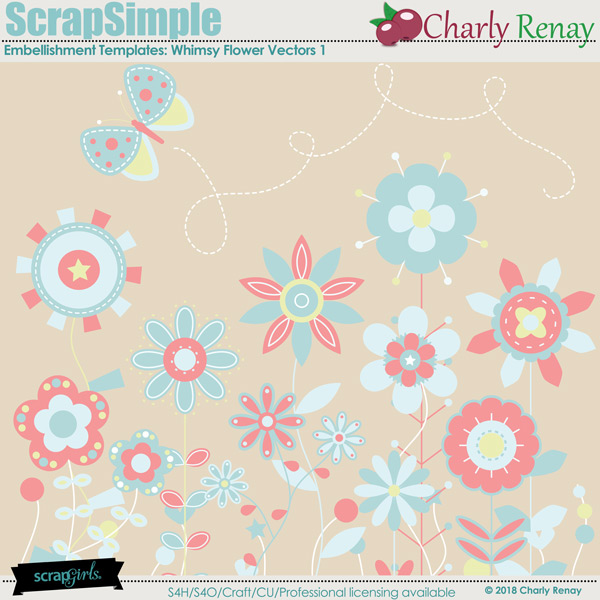 ScrapsimpleEmbellishments Templates:Whimsy Flower Vectors By Charly Renay