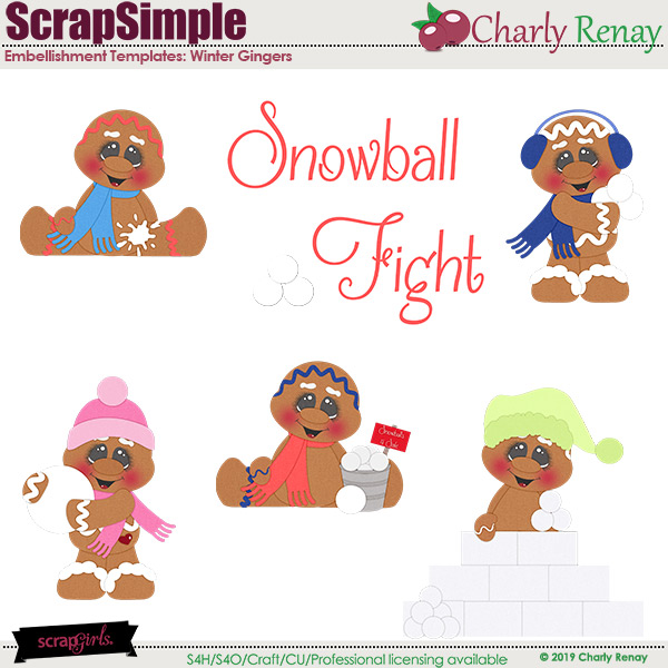 Scrapsimple Embellishment Templates: Winter Gingers By Charly Renay