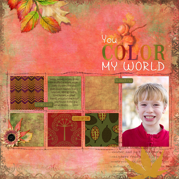 Digital scrapbook layout by Cheri Thieleke (product supply list and links below)
