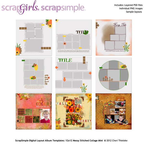 ScrapSimple Digital Layout Album Templates: 12x12 Messy Stitched Collage