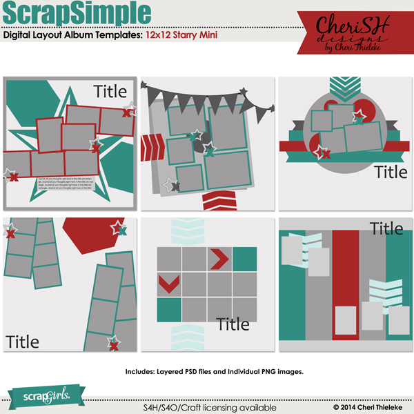 ScrapSimple Digital Layout Album Templates: Starry