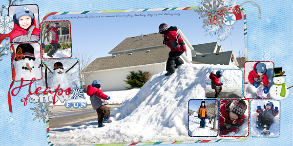 """Heaps Of Snow Fun"" layout by Cheri Thieleke product listed below"