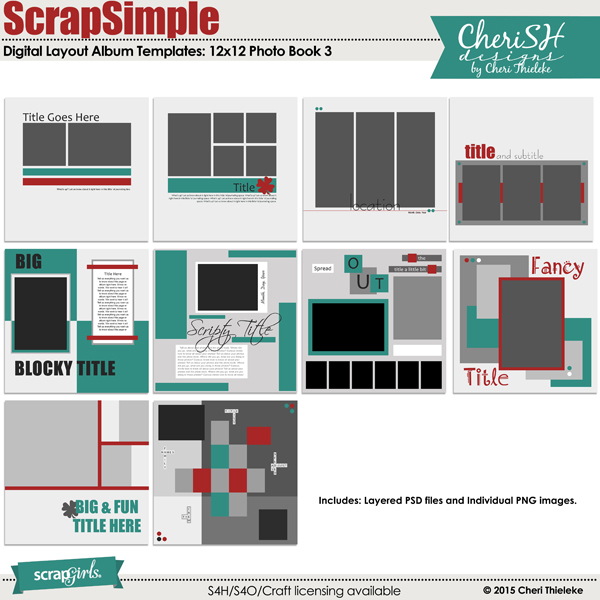 Scrapsimple Digital Layout Album Templates Photo Book 3