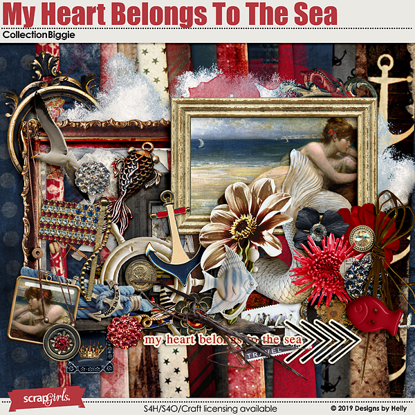 My Heart Belongs to the Sea Collection Biggie by Designs by Helly