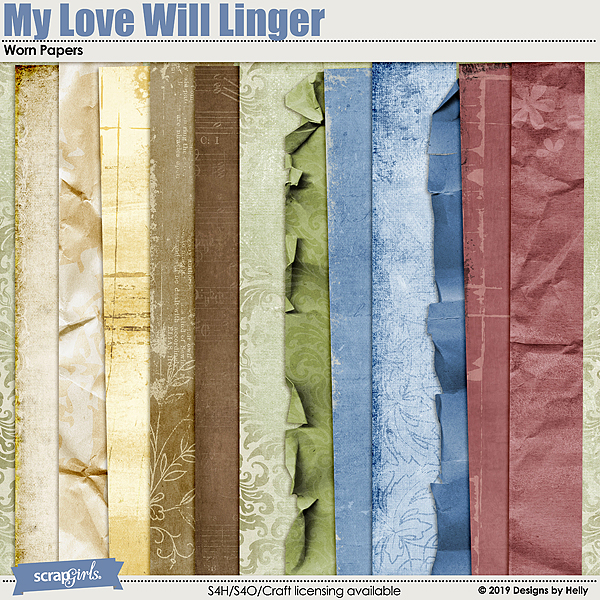 My Love Will Linger Worn Papers by Designs by Helly