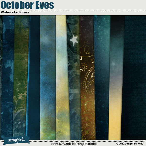 October Eves Watercolor Papers by Designs by Helly