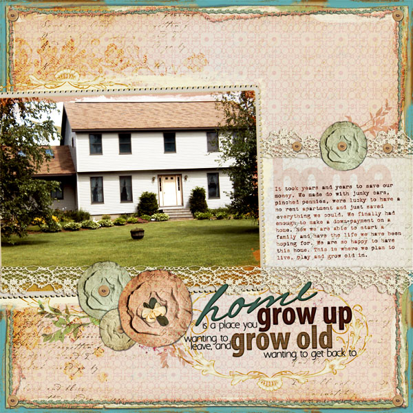 """Home Is"" digital scrapbooking layout by Doris Castle"