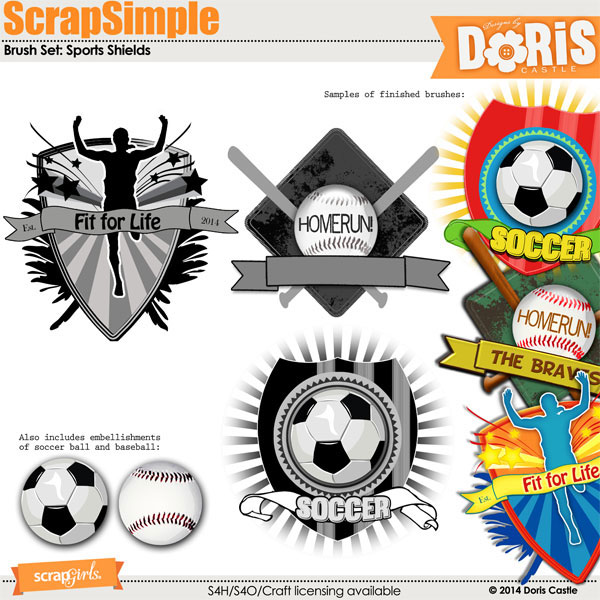 ScrapSimple Brush Set: Sports Shields
