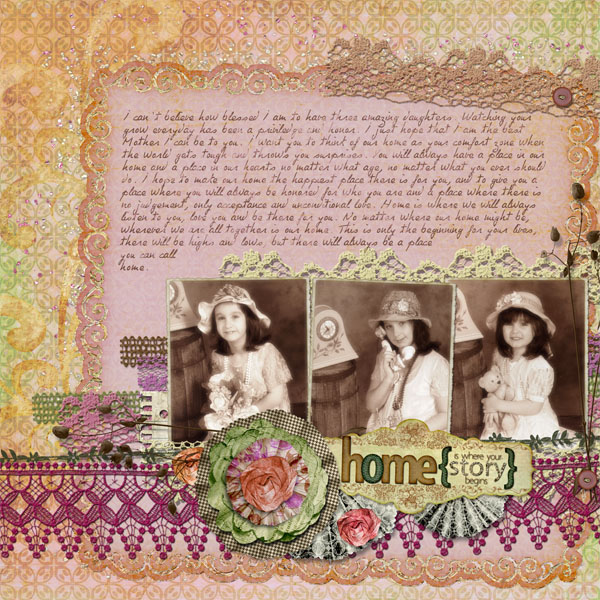 """Story of Home"" digital scrapbooking layout by Doris Castle"