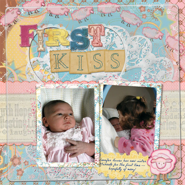 First Kiss layout by Doris Castle