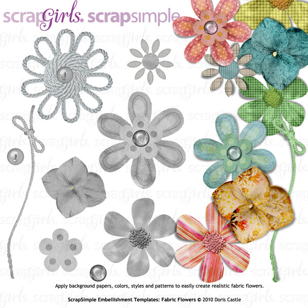 ScrapSimple Embellishment Templates: Fabric Flowers