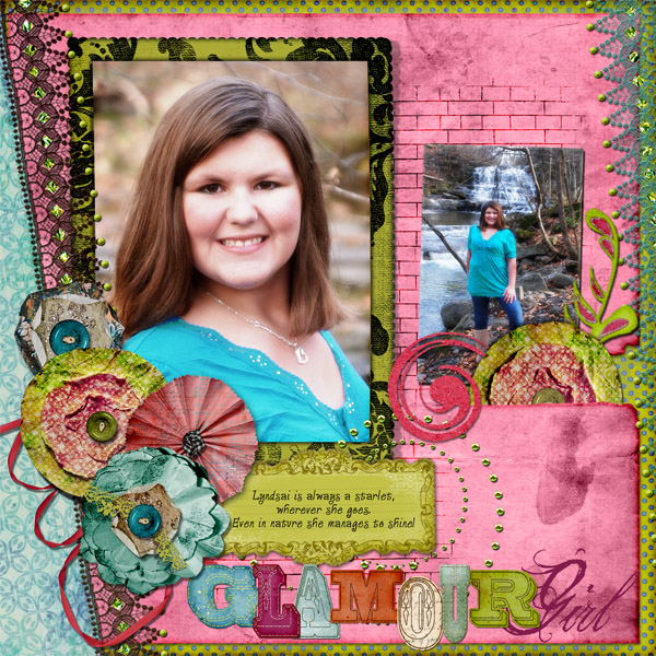 """Glamour Girl"" digital scrapbooking layout by Doris Castle"