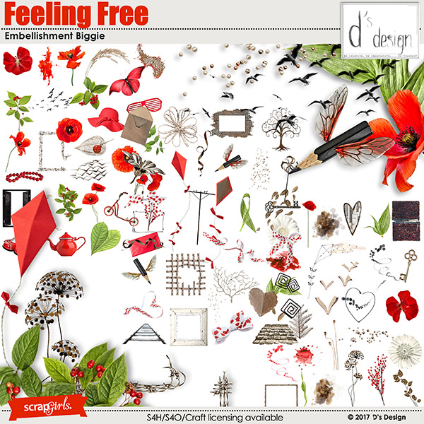feeling free embellishment biggie by d's design