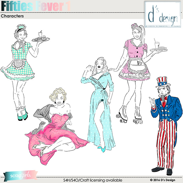 fifties fever 1 characters by d's design