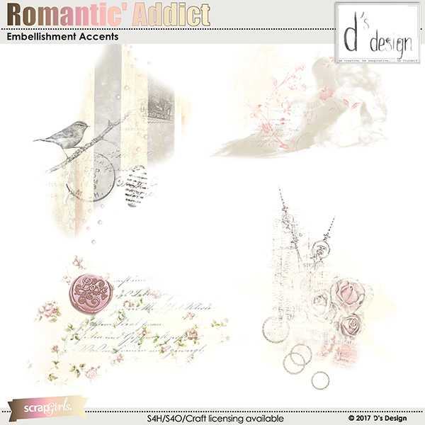 romantic' addict embellishment accents by d's design