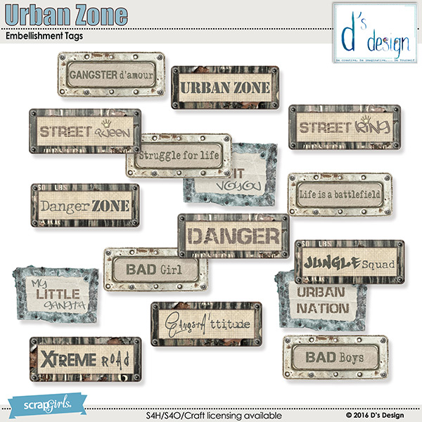 urban zone embellishment tags by d's design