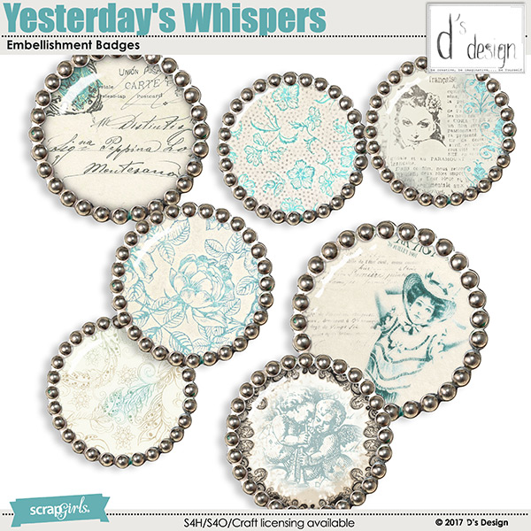 yesterday's whispers badges by d's design