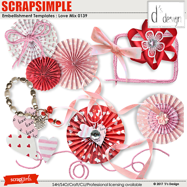 Love Mix 0139 by D's Design - Embellishment Templates
