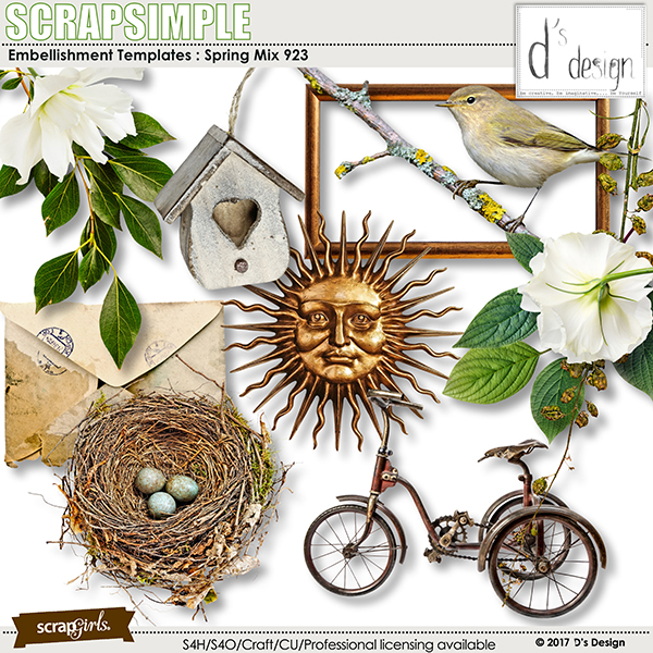 Spring Mix 923 by D's Design - Embellishment Templates