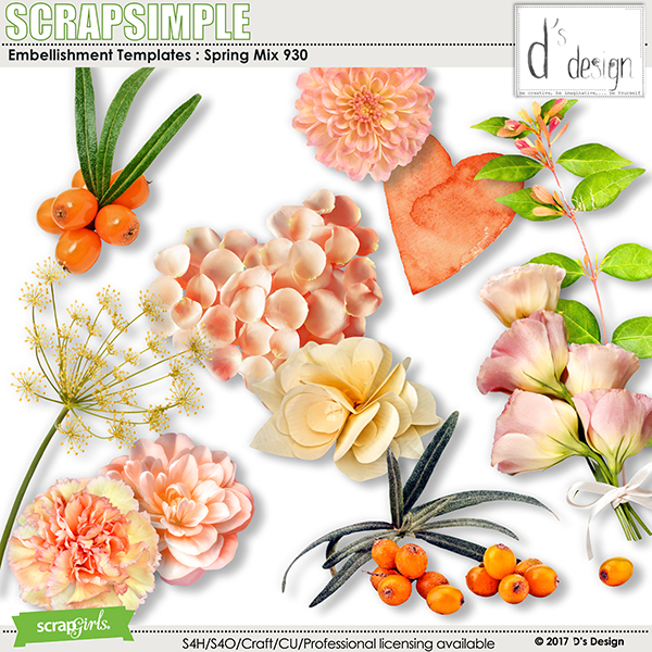 Spring Mix 930 by D's Design - Embellishment Templates