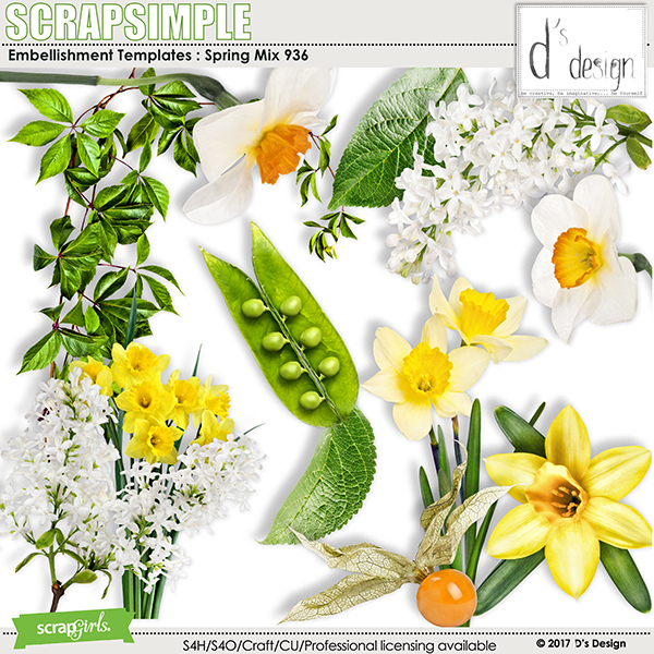 Spring Mix 936 by D's Design - Embellishment Templates
