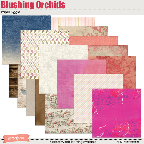 Blushing Orchids Paper Biggie by DRB Designs | ScrapGirls.com