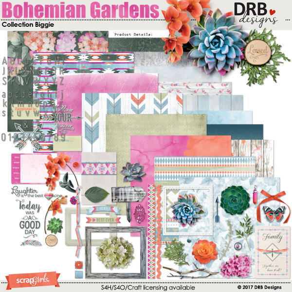 Bohemian Gardens Collection Biggie by DRB Designs | ScrapGirls.com