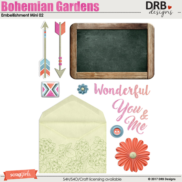 Bohemian Gardens Embellishment Mini 02 by DRB Designs | ScrapGirls.com
