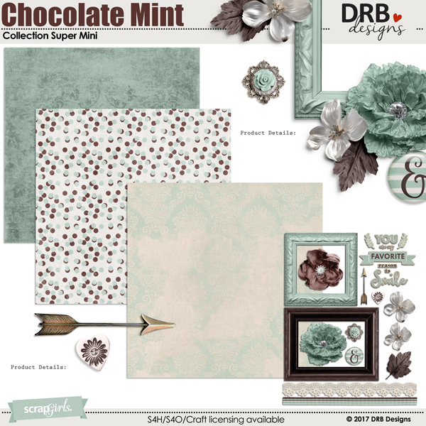 Chocolate Mint Collection Super Mini by DRB Designs | ScrapGirls
