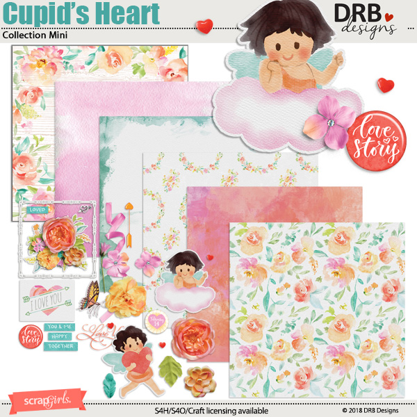 Cupid's Heart Collection Mini by DRB Designs | Scrapgirls.com