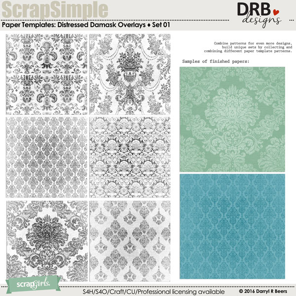 ScrapSimple Paper Templates: Distressed Damask Overlays by DRB Designs | ScrapGirls.com