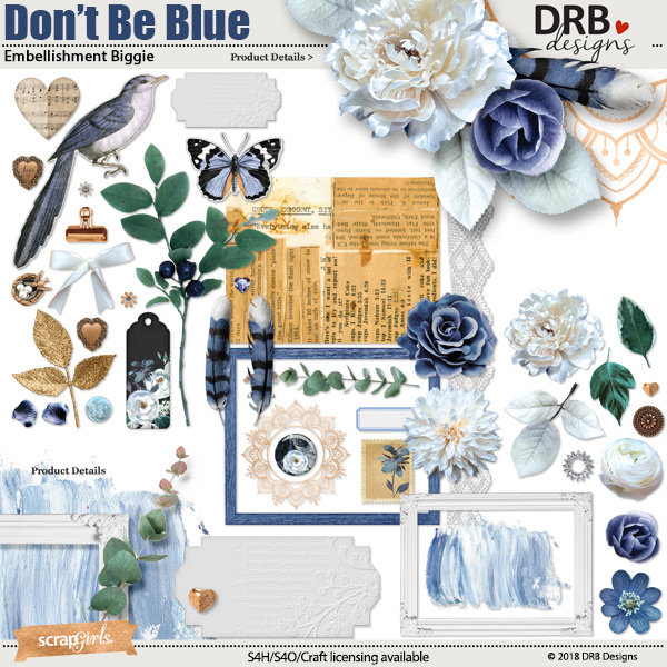 Don't Be Blue Embellishment Biggie by DRB Designs | ScrapGirls.com