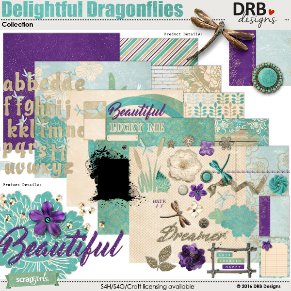 Delightful Dragonflies Collection by DRB Designs | ScrapGirls.com